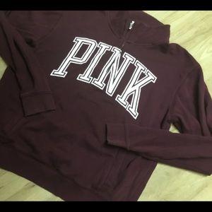 PINK Victoria's Secret maroon sweatshirt 1/2 zip